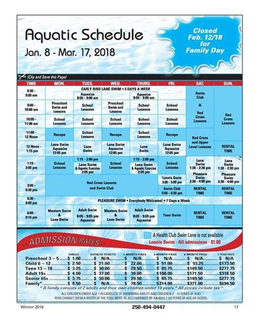 Winter Aquatic Schedule