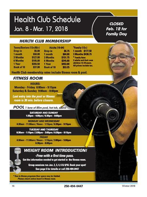 Winter Health Club Schedule