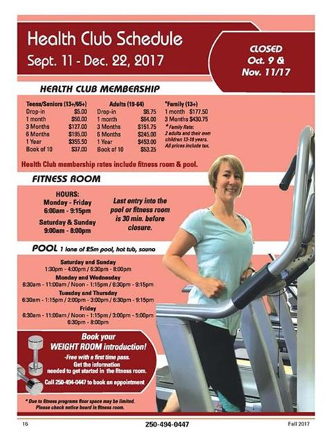 Fitness Room Schedule