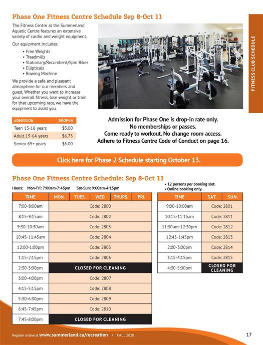 Fall 2020 Fitness Centre Schedule Phase One