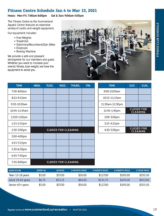 Fitness Centre Schedule